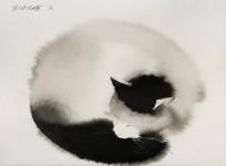 黒猫好き必見!水彩で描かれたふんわりした黒猫の絵