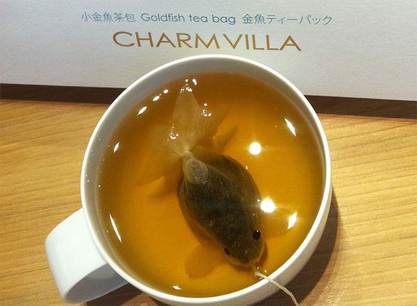 ぷかぷかお茶出すよ!台湾の茶葉が一杯詰まった金魚ティーバッグ (3)