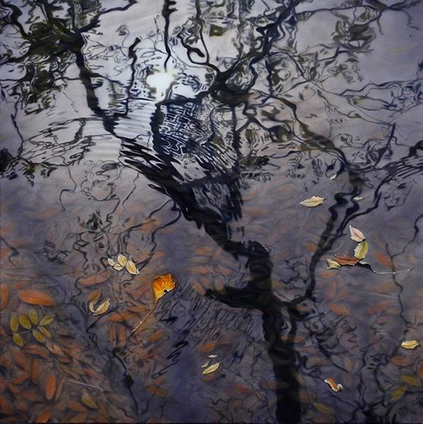 一瞬のきらめき。水の波紋を写実的に描いた油絵作品 (1)
