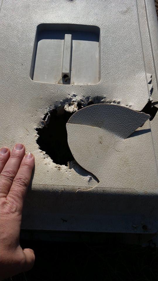 キャリーの上部に内部からの破損が見られる