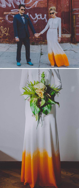 鮮やかなカラーが美しい。色が付いたウェディングドレス (7)