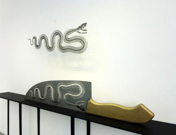 包丁からシルエット。ブッチャーナイフから金属彫刻 (4)