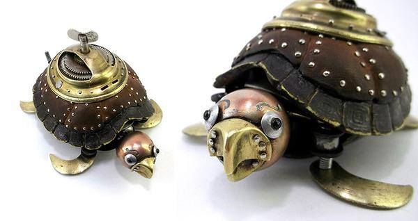 時計の部品から作られた亀