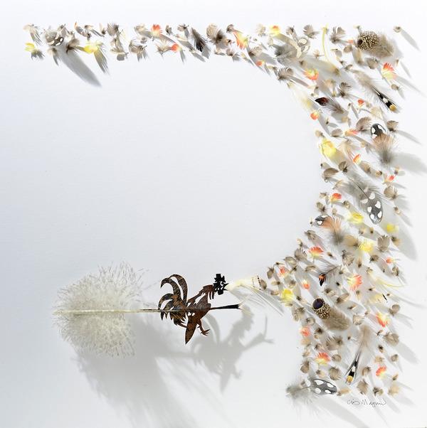 鳥の羽から切り取られた鳥類や動物のモチーフ (9)