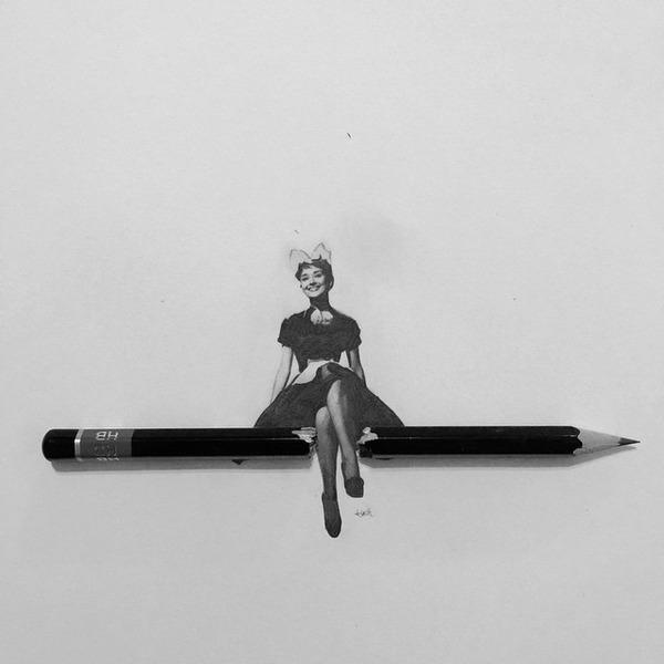 超小さいのに写実的!鉛筆の芯で描くミニチュア肖像画 (3)