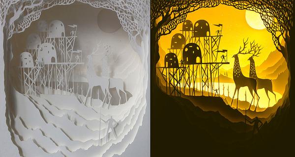 紙のジオラマ!幻想的な架空世界を描くペーパーアート (5)