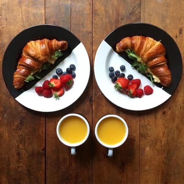 美味しさ2倍!毎日シンメトリーな朝食写真シリーズ (34)