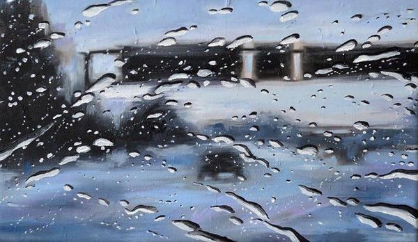雨に濡れた車のフロントガラスから覗く世界を油絵で表現 (5)