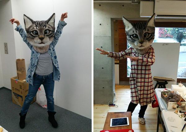 羊毛フェルトで作られた巨大でリアルな猫型マスク