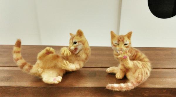 羊毛フェルトのリアル猫人形2