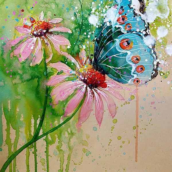 飛散する色彩と水滴!カラフルで可愛い小動物の水彩画 (12)