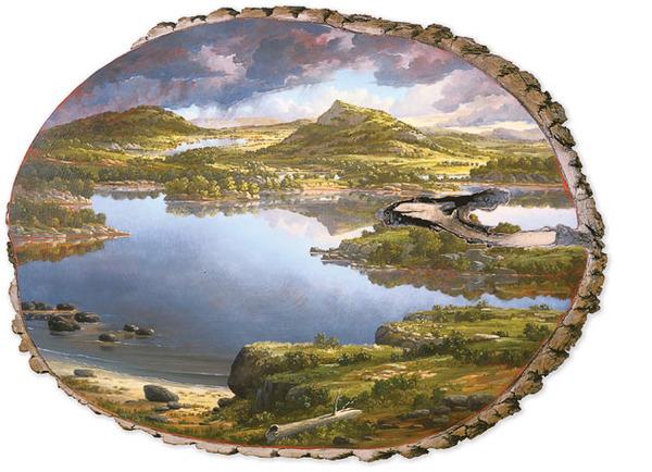木の断面にアメリカの自然風景を描く (5)