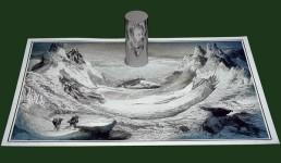 アナモルフィックアート!歪像を鏡で反射させる絵画