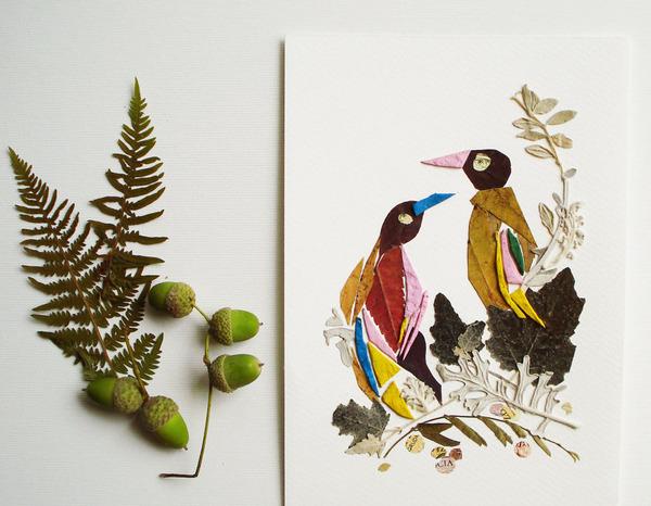 葉や花で自然を描く!植物を素材にした押し花の絵 (13)