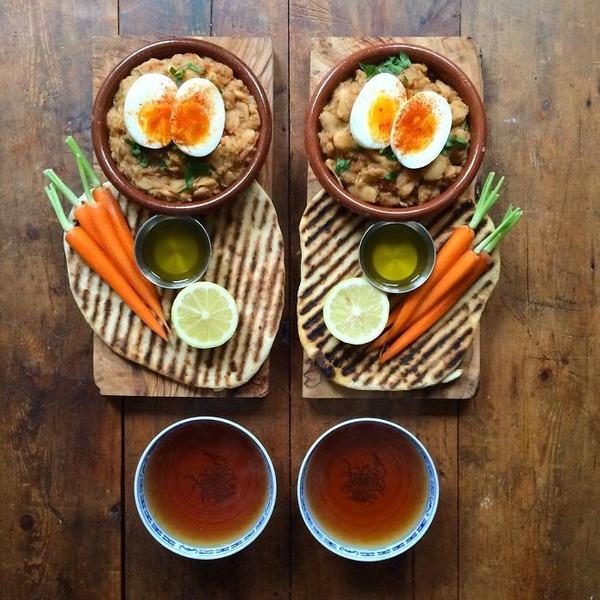 美味しさ2倍!毎日シンメトリーな朝食写真シリーズ (10)