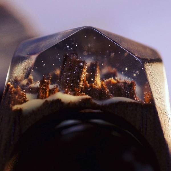 小さな世界が隠されている木と樹脂の指輪 (4)