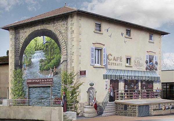生活空間があるみたい。建物の壁に建物を描く壁画 (8)