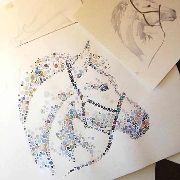 超カラフルな動物の水彩画!色とりどりの点によって描かれる (13)