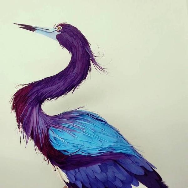 カラフル!リアル!鳥や蝶をモチーフにした紙の彫刻作品 (13)