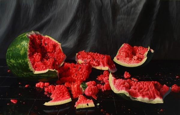 色鮮やかな果物と野菜の静物画,油絵 エリック・ワート 7