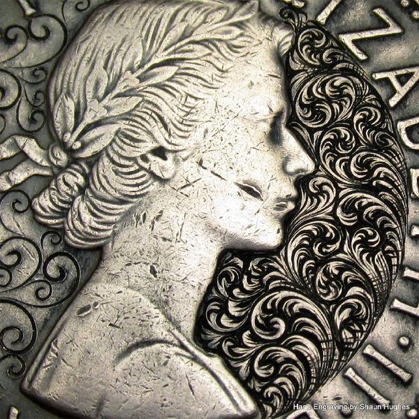 超繊細!コインに花の模様を彫る彫刻作品 (5)