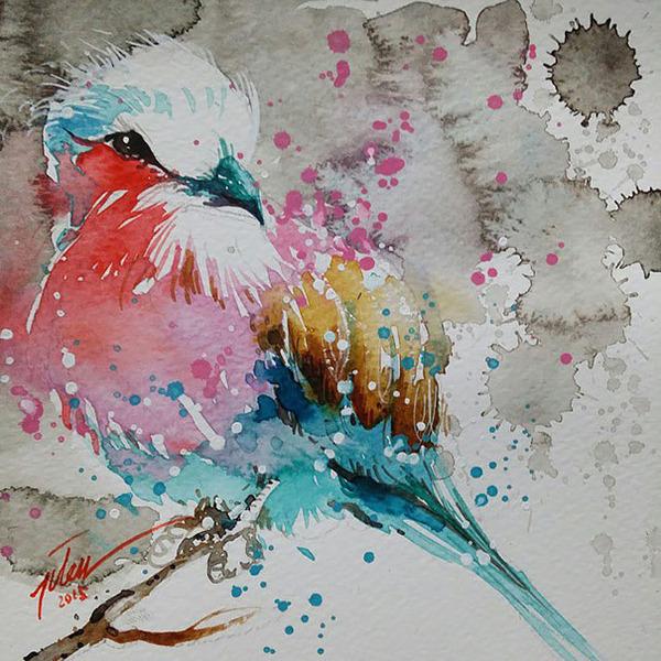 飛散する色彩と水滴!カラフルで可愛い小動物の水彩画 (13)