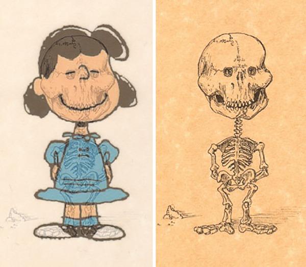 解剖学?漫画やアニメのキャラクターに骨付けしたイラスト! (2)