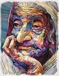 カラフルな油絵っぽいけど、紙を折り曲げて作られてる肖像画!