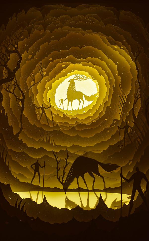 紙のジオラマ!幻想的な架空世界を描くペーパーアート (2)