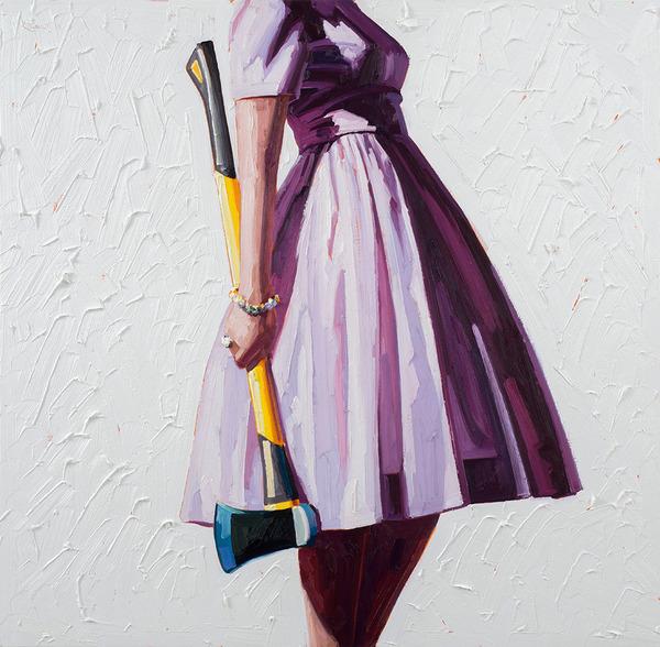 カラフルなドレスを着た女性が工具を持つシュールな油絵 (8)
