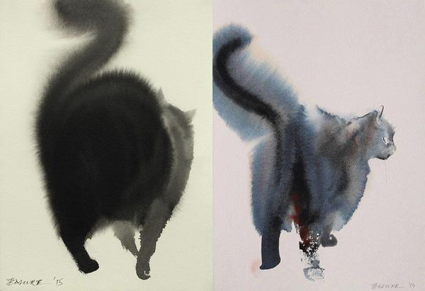水墨画のような黒猫の水彩画 エンドレ・ペノベック3