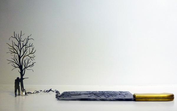 包丁からシルエット。ブッチャーナイフから金属彫刻 (3)