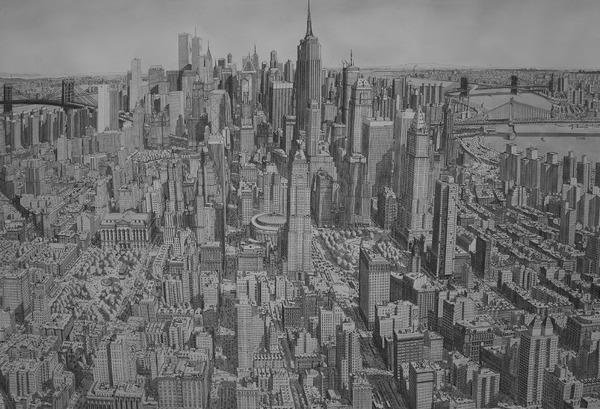 超精密!記憶を頼りに世界の都市景観を描くモノクロ絵画 (13)