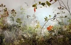 幻想的な風景。木々や花々を組み合わせて作られたコラージュ画像