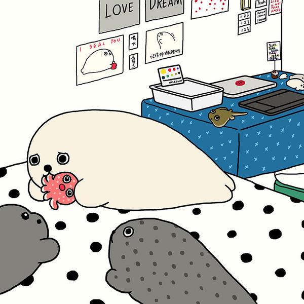 ゆ、ゆるすぎる!アザラシの日常生活を描いた癒されイラスト (5)