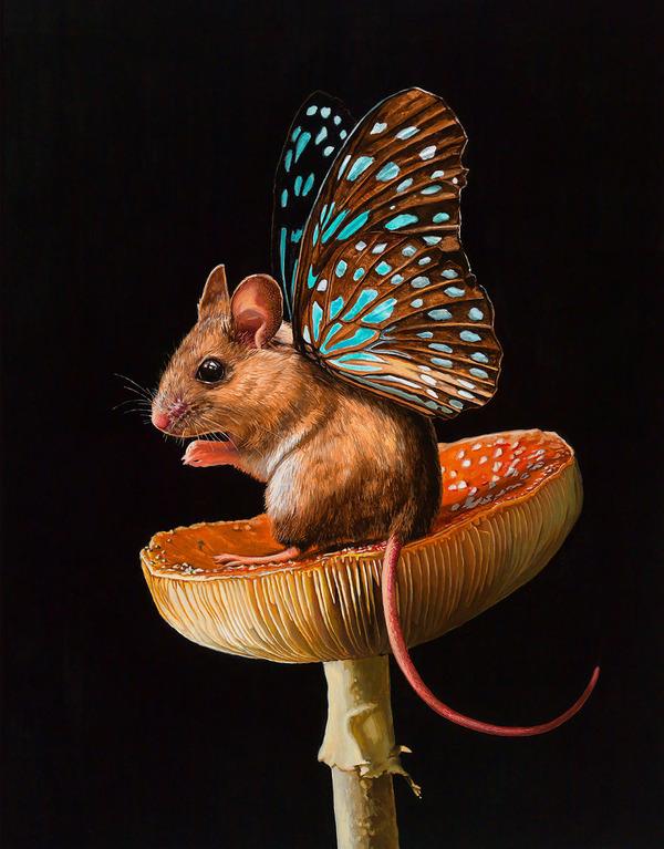 蝶々の羽が生えたネズミやリス小動物を描いた絵 (7)
