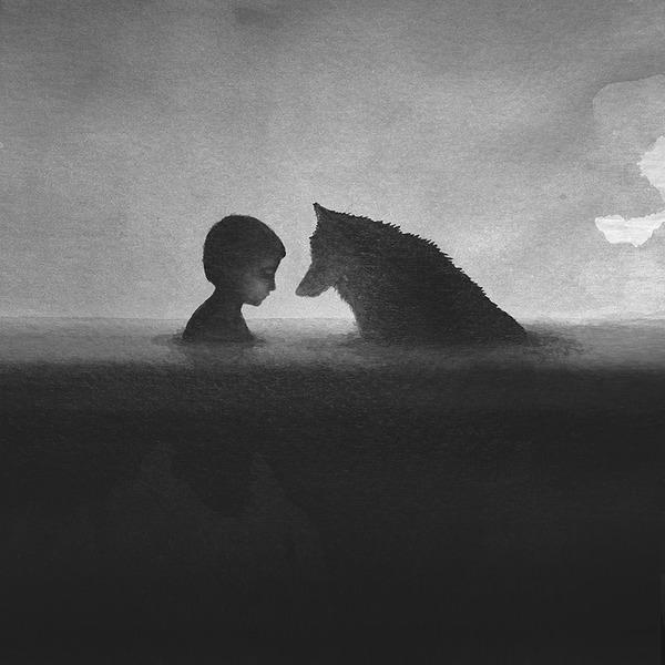 動物と少年のモノクロ絵画 Elicia Edijanto (1)