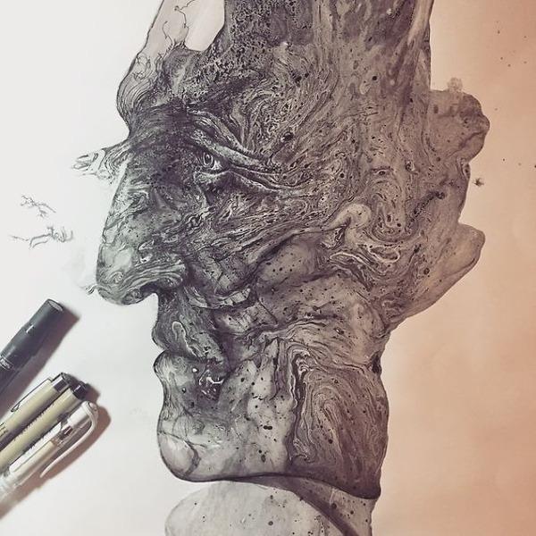 インクを注ぎ、飛び散らせてカオスなイラストレーションを描く (12)