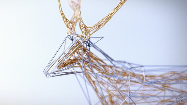 3Dポリゴンみたいな幾何学的動物彫刻 (10)