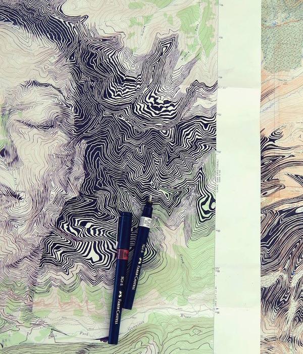 地図をキャンバスにして描く印象的な肖像画 (10)