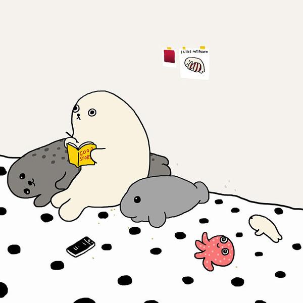 ゆ、ゆるすぎる!アザラシの日常生活を描いた癒されイラスト (28)