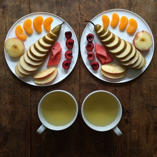 美味しさ2倍!毎日シンメトリーな朝食写真シリーズ (1)