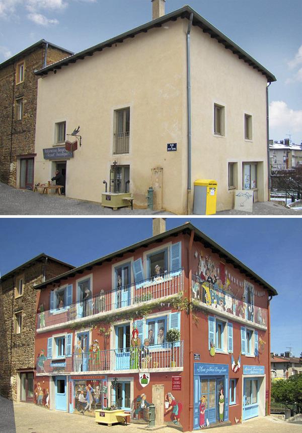 生活空間があるみたい。建物の壁に建物を描く壁画 (10)
