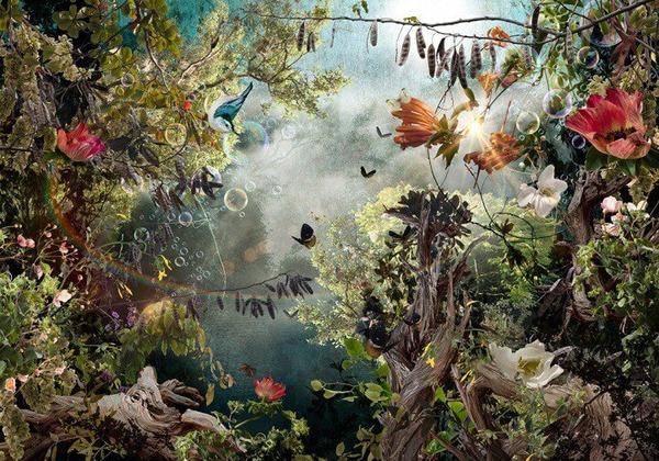 木々や花々を組み合わせて作られたコラージュ画像 (9)
