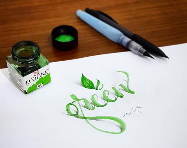 紙上の文字が立体的に!3Dカリグラフィー(Calligraphy) (1)