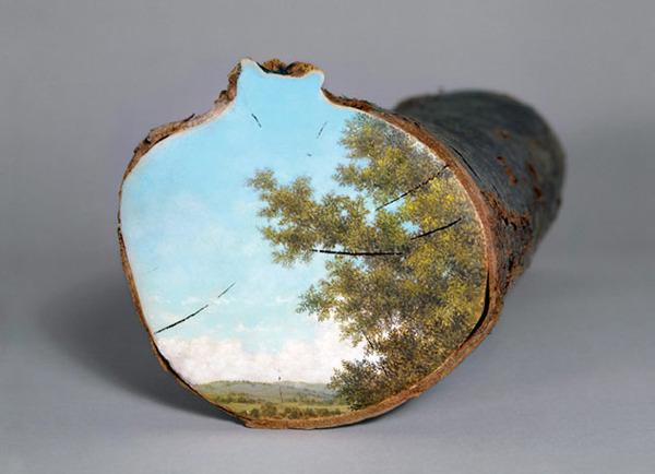 木の断面にアメリカの自然風景を描く (18)