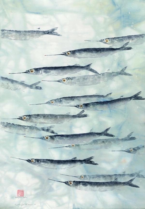 日本文化『魚拓』で描かれる海外アーティストによる絵画作品 (9)