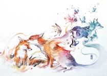 流れるような色彩が美しい。幻想的な野生動物たちの水彩画