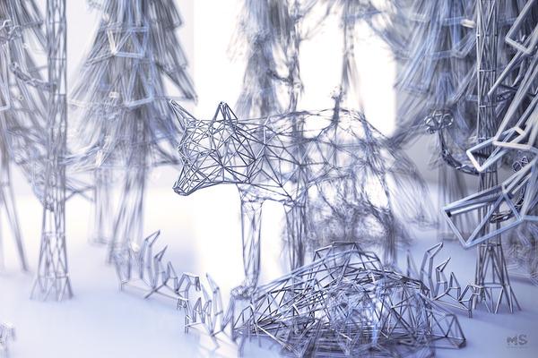 3Dポリゴンみたいな幾何学的動物彫刻 (1)