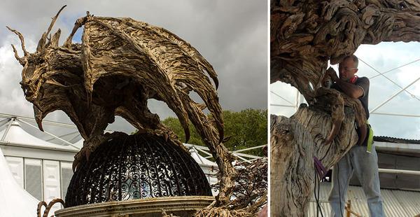 流木で作られたドラゴンの彫像,彫刻 4